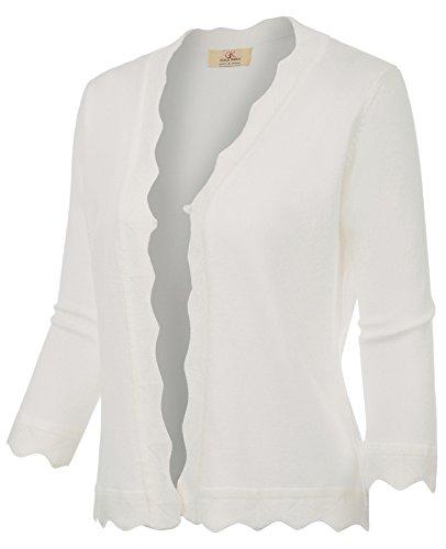 GRACE KARIN Office Cropped Knit Cardigan Jacket for Dress (XXL, Ivory 781) by GRACE KARIN