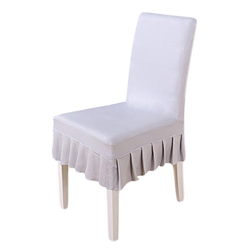 Deisy Dee Solid Ruffled Stretchable Removable Washable Dining Chair Cover Spandex Seats Slipcover for Wedding Party Hotel C029 (GREY) -