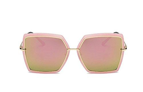 2018 Neue Große Box Polarisierte Mode Trend Square Street Beat Vier-Farben-Unisex-Sonnenbrille,Pink