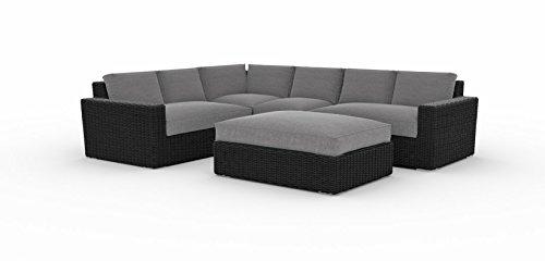 Toja Turo Outdoor Patio Sectional Set (5 pcs) | Wicker Rattan Body with Sunbrella Cushions (Half Round Wicker/Cast Slate) (Big Round Chair Wicker Cushion With)