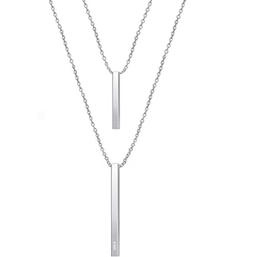 925 Sterling Silver Multilayer Bar Pendant Necklace, Boho Stick Bar Choker Necklace Minimalist Y Necklace for Women (Open Flower Double Pendant)