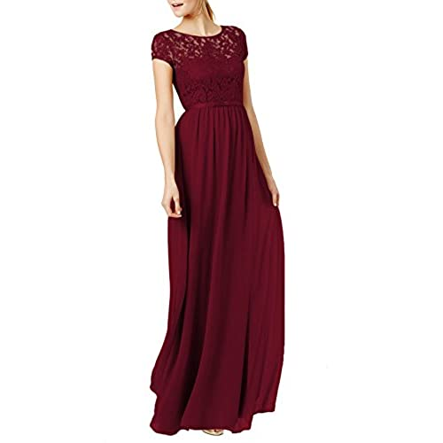 REPHYLLIS Womens Lace Cap Sleeve Evening Party Maxi Wedding Dress (XXL,Burgundy)