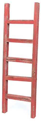 BarnwoodUSA Rustic 4 Foot Decorative Wooden Ladder - 100% Reclaimed Wood, Rustic Red