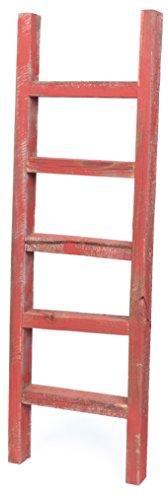BarnwoodUSA Rustic 4 Foot Decorative Wooden Ladder - 100% Reclaimed Wood, Rustic Red