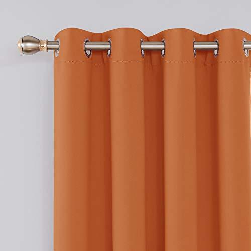 Deconovo Grommet Plush Orange Thermal Insulated Blackout Curtain Panel 52x63 Inch للبيع