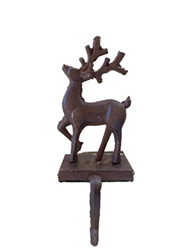 Cast Iron Self Standing Reindeer Holiday Stocking Holder (Stocking Holders Christmas Reindeer)
