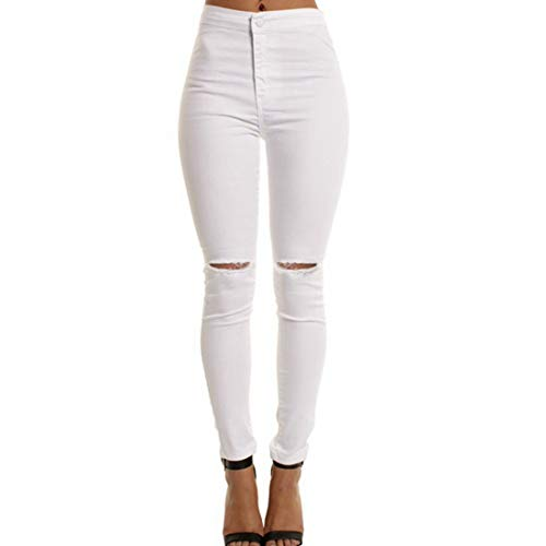 Taille Jeans Femme Color Wowulgar Jegging Maigres White M White Jeans dchirs Haute Size nngWF