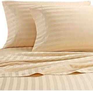 DAMASK STRIPE  2 COUNT KING PILLOWCASES COLOR BROWN 100/% EGYPTIAN COTTON