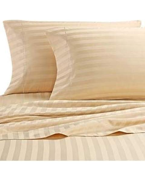 Damask Stripe 500 TC 100/% Egyptian Cotton King Pillowcases in Brown