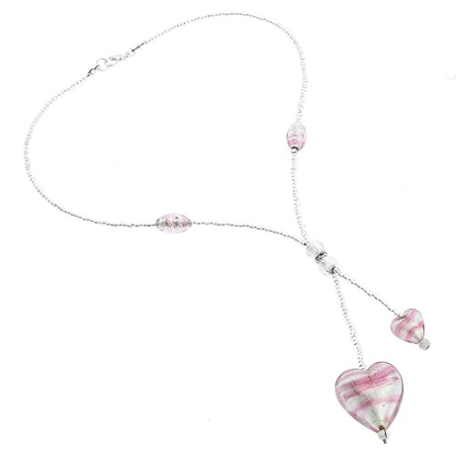Handmade Striped Glass Necklace - GlassOfVenice Murano Glass Heart Tie Necklace - Striped Silver Pink