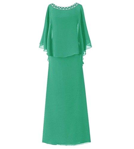 Chiffon Flutter Sleeve Long Evening Dress Mother of The Bride Dresses Plus Size Jade US26W