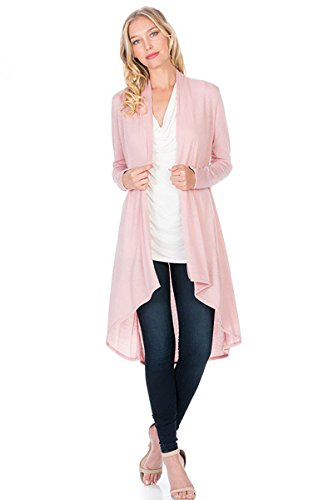 Modern Kiwi Solid Essential Long Cascading Cardigan Blush Large