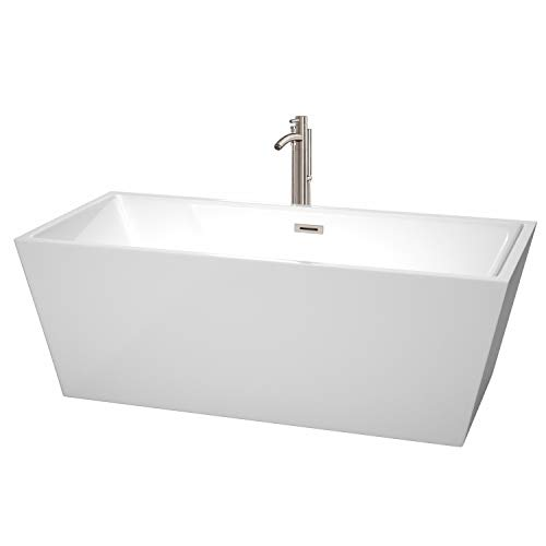 Wyndham Collection WCBTK151467ATP11BN Sara Freestanding Bathtub with Floor Mounted Faucet in Brushed Nickel 67