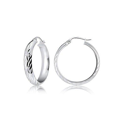 (Sterling Silver Half Round Design Diamond-Cut Hoop Earrings, 20mm)