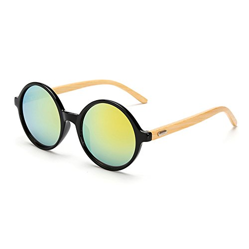 VeBrellen Men's Sunglasses Bamboo Wood Arms Vintage Round Mirrored Sunglasses For Men & Women (Black Frame With Yellow Lens, - Eco Friendly Sunglasses