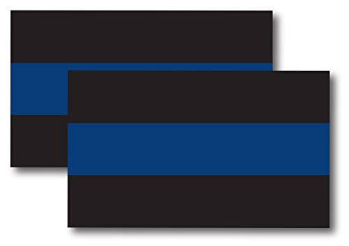 (Thin Blue Line Magnet Decal 5 inch x 3 Inch 2 Pack - Heavy Duty for Car Truck SUV)