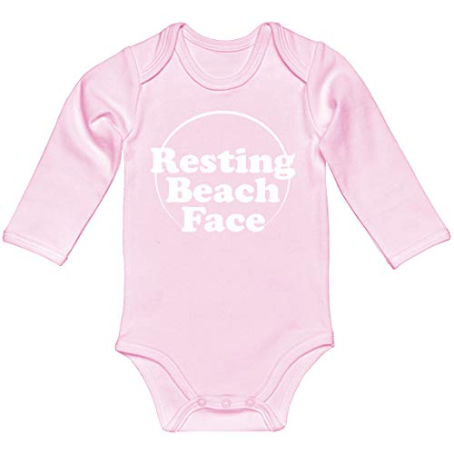 Indica Plateau Baby Onesie Resting Beach Face Light Pink for Newborn Long-Sleeve Infant Bodysuit ()