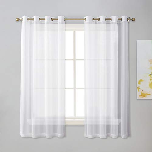 NICETOWN Sheer Window Panel Curtains - Grommet Top Sheer Drapes for Windows (2-Pack, 54 Wide x 63 inches Long, White) (Windows Panel Curtains Grommet)
