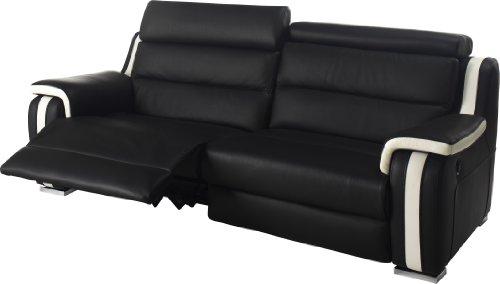 canap 3 places 2 relax lectriques cuir noir et blanc amazonfr cuisine maison - Canape Relax 3 Places