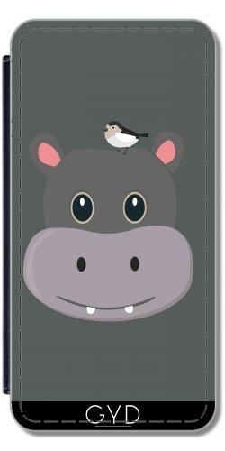 Leder Flip Case Tasche Hülle für Apple iPhone 6/6S - Niedliche Nilpferd Mit Vogel by ilovecotton