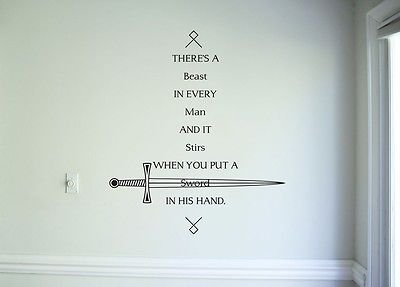 Wall Decal Quotes Sticker Decor Game Of Thrones Sword Wall Art Mural