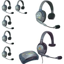 Eartec HUB7SMXS 7 Person Hub Series with Plug in Max 4 G Single Headset & 6 UltraLITE Headsets