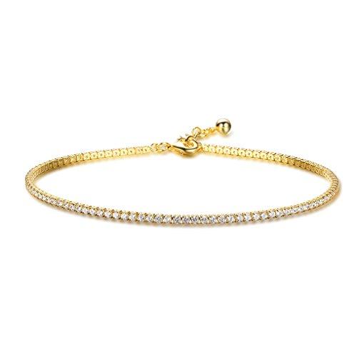 Richapex Women's Platinum Plated Gold Adjustable Cubic Zirconia Slider Tennis Anklets (Gold) - Gold Ankle Bracelet