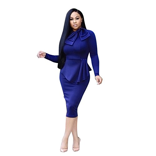 iDWZA Valentine's Day Fashion Women's Office Lady Formal Party Sheath Tunic Elegant Pencil Dress(Blue,L)