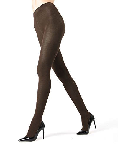 Knit Sweater Tights | Women's Hosiery - Pantyhose Brown Heather MO 325 Queen1/Queen2 ()
