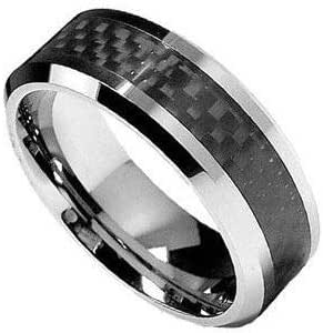 Tungsten Carbide Engagement Ring With Black Carbon Fiber For Men-7Us