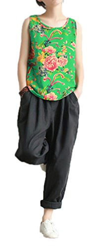 Soojun Women's Linen Casual Loose Fit Wide Leg Rolled Up Pant with Packet, Black Linen Cuffed Pant