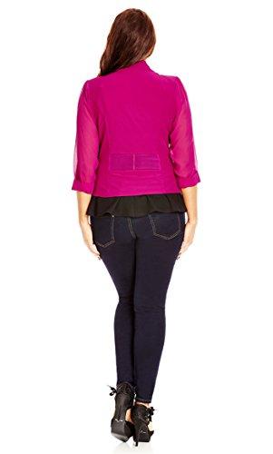 Designer Plus Size JKT DRAPEY BLAZER CO - Cerise - 24 / XXL | City Chic