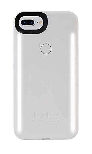 LuMee Duo Phone Case, White Glossy | Front & Back LED Lighting, Variable Dimmer | Shock Absorption, Bumper Case, Selfie Phone Case | iPhone 8+ / iPhone 7+ / iPhone 6s+ / iPhone 6+ (Light Up Phone Case Iphone 7 Plus)
