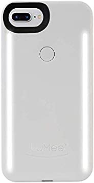 LuMee Duo Phone Case, White Glossy | Front & Back LED Lighting, Variable Dimmer | Shock Absorption, Bumper