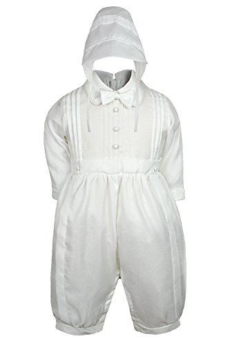 Leadertux White Rompers Baby Toddler Boys Christening Baptism with Hat 0-30M (0:(0-6 months))
