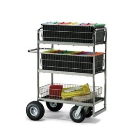 Charnstrom Triple-Decker Wire Basket Mail Cart with 3 Choices of Casters (M273)