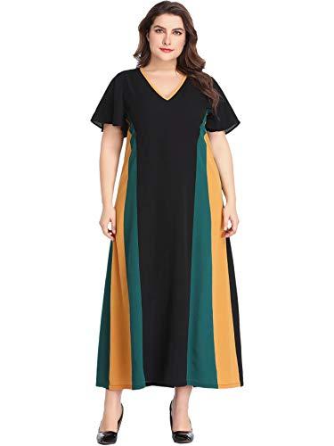 Romwe Women's Plus Size Ruffle Short Sleeve Belted V-Neck Elegant Party Maxi Dress Multicolor#3 2XL