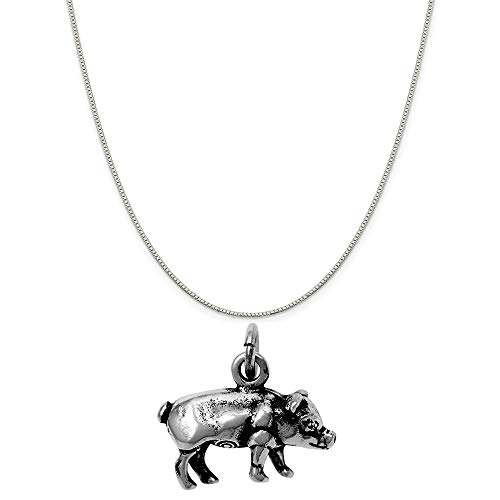 Raposa Elegance Sterling Silver Pig Charm Pendant on a Sterling Silver Carded Box Chain Necklace, 18