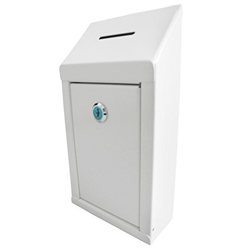 MCB- Metal Donation Box & Collection Box - Suggestion Box - Secure Box - with Top Coin Slot and Lock Included with 2 Keys - Easy Wall Mounting or Counter Top Use (2 Inch)