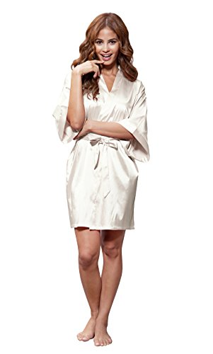 Turquaz Linen Womens Pure Color Satin Short Kimono Bridesmaids Lingerie Robes