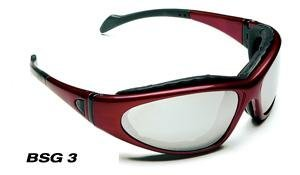 Body Specs BSG-3 Interchangeable Lens Goggles w/ 3 Lens Set, Burgundy