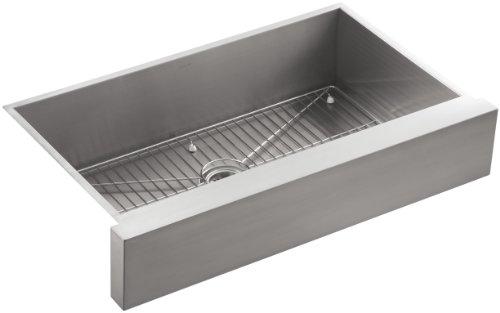 "KOHLER Vault 30"" Single Bowl 18-Gauge Stainless Steel Apron Front Kitchen Sink Undermount Installation K-3943-NA"
