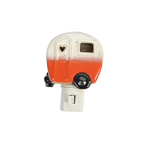 Drew Derose Glossy Orange Whimsical Camper RV Heart 7 x 4 Ceramic Night Light by Drew Derose (Image #1)