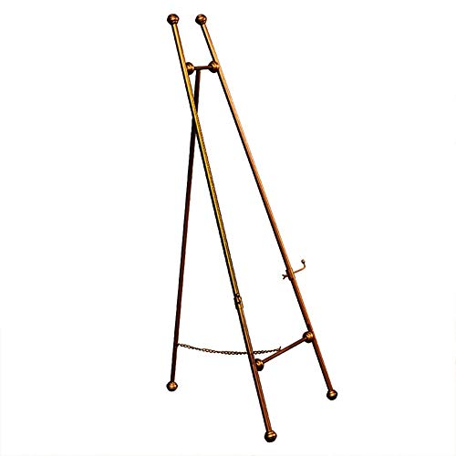 Easel 120cm High Metal Tripod, Display Easel & Artist, Adjustable Tray Suitable for Various Works of Art, Wedding Displays, Painting Exhibitions (Color : Red Copper) ()