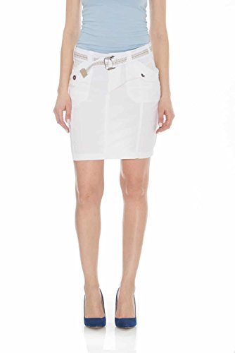 Suko Jeans Poplin Cargo Skirt for Women 57050 White 6