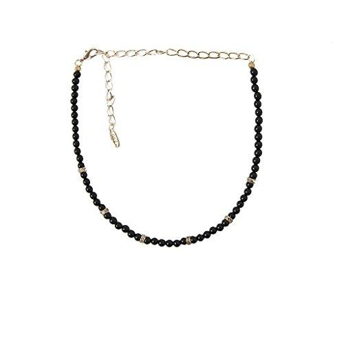 Jet Black Beaded Necklace (Ettika Mean One Thing Gold Tone Jet Black Beaded Choker Necklace)