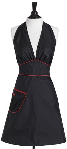 Jessie Steele Bib Bombshell Apron, Black with Red Trim (Jessie Steele Salon Apron compare prices)