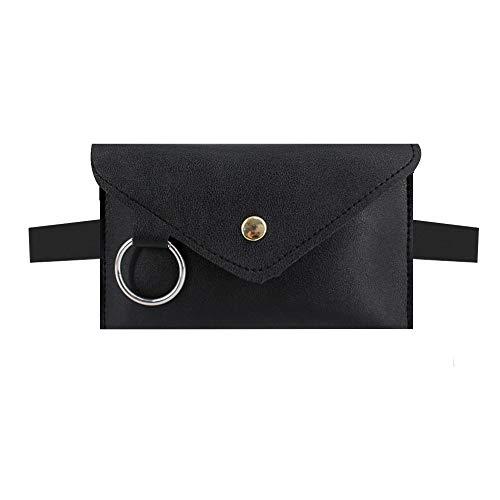 Monique Women Metal Ring PU Leather Fanny Pack Removable Belt Waist Bag Bum Bag Envelope Clutch Cell Phone Pouch Purse Black
