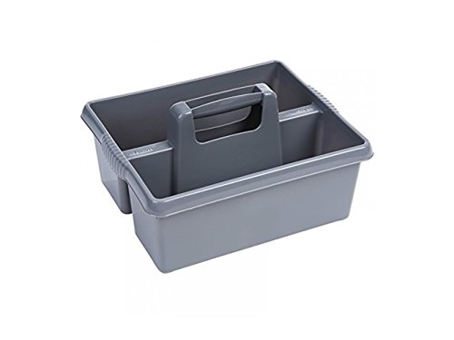 (Yuchoi Perfectly Shaped Kitchen Tidy Organiser Cleaning Caddy Tote Tray Large Strong Cleaners Carry Tray Basket(Grey))
