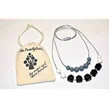 Baby Teething Nursing Necklace for Mom to wear Silicon Teething chew beads 100%BPA Free- BLACK AND WHITE